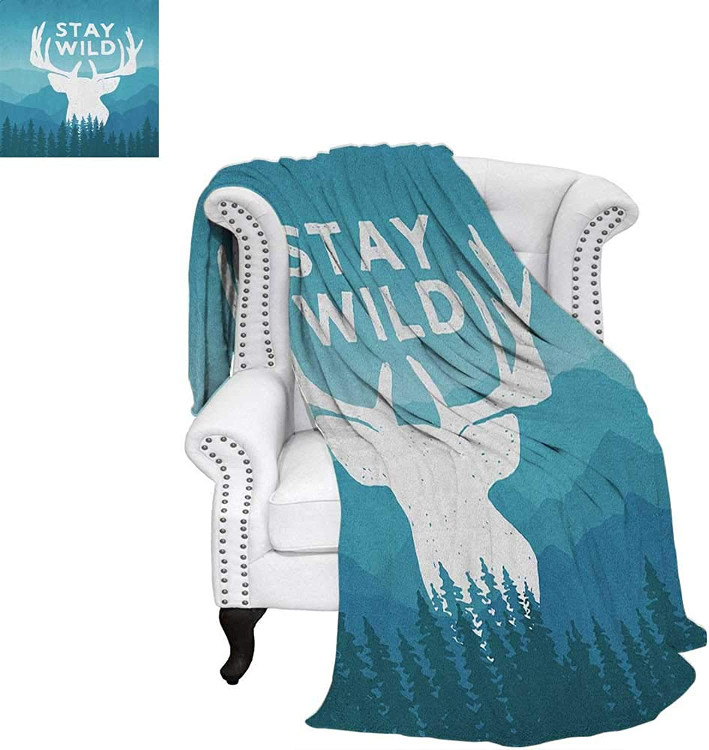 Adventurefluffy blanketWilderness Themed Stay Wild Quote with Scenic Mountain Backdrop Forestbed Blanket 60 x50  Baby bluee Dark bluee