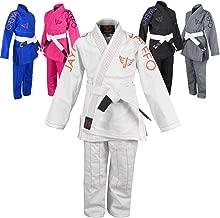 Jayefo Kids BJJ JIU Jitsu GI Lightweight IBJJF Kimonos Preshrunk Soft Pearl Weave Fabric Judo -Free White Belt-2 Years Warranty