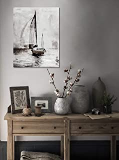 Large FramedCanvasWallArt, BrownSailingBoats,Neutral Vintage Brown ColorOil Paintings for Home Decor,3D HandPainted Modern Landscape Pictures for LivingRoom, Stretched ReadytoHang30x40 Inch