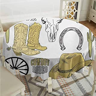 ScottDecor Wedding Round Tablecloth Western Cowboy Rodeo Accessories Skull Lasso Hat Vintage Wheel Horseshoe Pale Brown Black Pale Grey Wrinkle Free Tablecloths Diameter 60