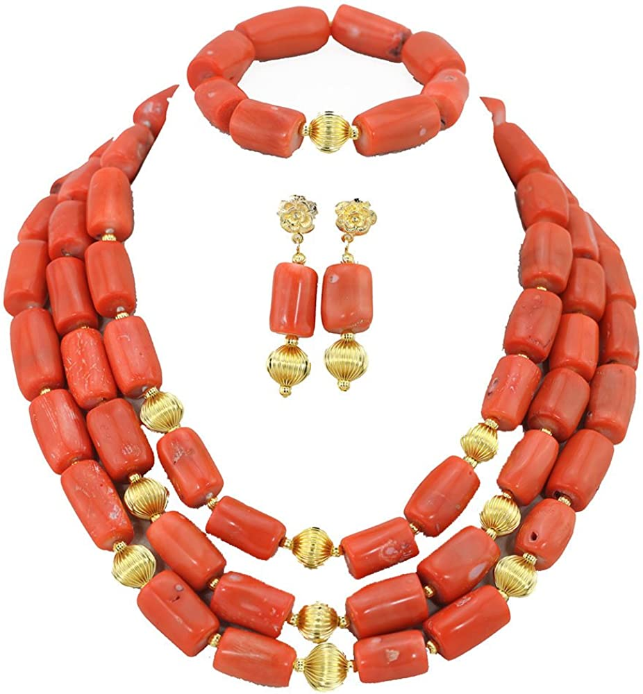 Africanbeads 3 Rows Pink Coral Nigerian Wedding African Coral Beads Jewelry Set(ABC023)
