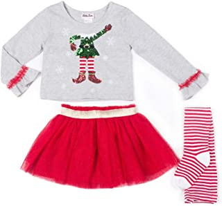 Girls 3 pc Christmas Elf Outfit- Sequined T-Shirt, Tutu Skirt & Tights