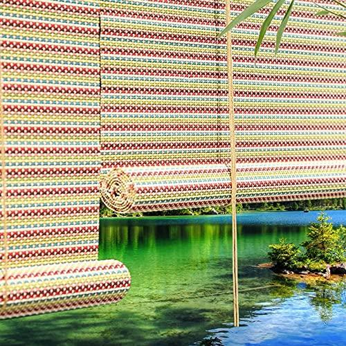 ZAQI Estores Enrollables Persiana Enrollable al Aire Libre para Patios Exteriores PERGOLAS Porches, Cortina de Estilo japonés de bambú Colorido, 3 pies 4 pies 5 pies 6 pies 7 pies de 8 pies de Ancho