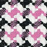 Stoff Hahnentrittmuster, Pink/Schwarz/Weiß