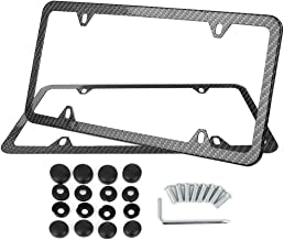 X AUTOHAUX 2Pcs Carbon Fiber Style Car 4 Hole License Plate Frame Holder w/Screw Caps