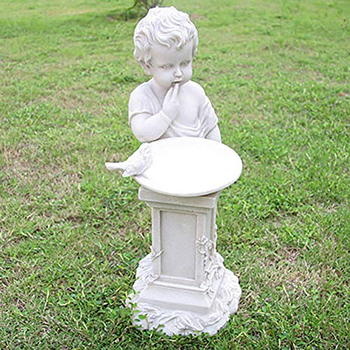 REAMIC Garden Bird Bath Outdoor Resin Floor Decoration Garden Villa Sculpture European Boy Feeding Bird Basin Decoration