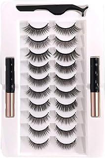 10 Pairs Magnetic False Eyelashes Artificial Eyelashes Set Liquid Eyeliner Tweezer 2