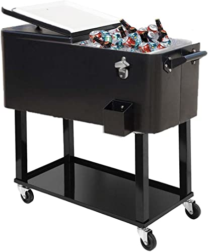 discount General 80-Quart Portable Rolling Ice lowest Chest Cooler lowest Cart Patio Party Drink Ice (Black) online