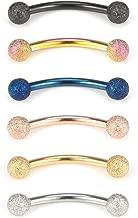 Ruifan 3mm Matte Balls Externally Threaded Curved Barbell Eyebrow Nose Septum Belly Lip Tragus Ring Piercing Jewelry 16G 3/8