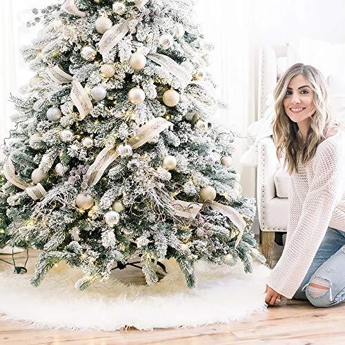 Maxesla Christmas Tree Mat - 35' Fluffy Furry Christmas Tree Skirt Decorations, For Christmas New Year Party Decor