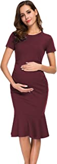 BBHoping Women's Maternity Dress Bodycon Elegant Mermaid Flare Ruffle Dresses Pregnancy Clothes for Bridal or Baby Shower