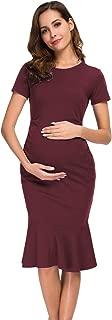 Womens Maternity Dress Bodycon Ruched Short Sleeve Mermaid Dress Pregnancy Dresses