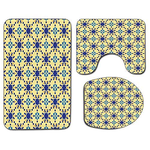 3Pcs Non-Slip Bathroom Rug Toilet Seat Lid Cover Set Ethnic Soft Skidproof Bath Mat Moroccan Ceramic Motif with Arabesque Persian Folk Effects Antique Design,Orange and White Absorbent Doormat Bedroom