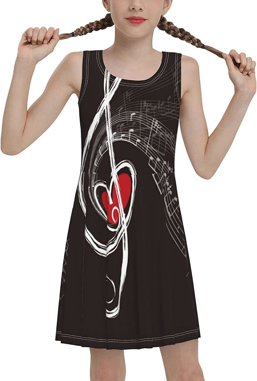 SDGhgHJG Music Notes Sleeveless Dress for Girls Casual Printed Jumper Skirt