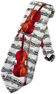 Steven Harris Mens Violin Sheet Music Necktie - White - One Size Neck Tie