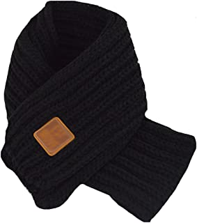 Queena Kids Soft Warm Knitted Scarf Solid Color Toddler Neck Warmer,Black