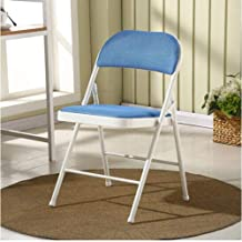 ZPWSNH Folding Chair Steel Frame Upholstered High-Grade Fabric Seat 480 Pounds Chair (Color : Blue)