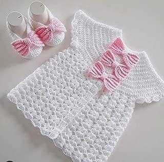 Woonie Handmade Crochet Woolen White Frock with Booties