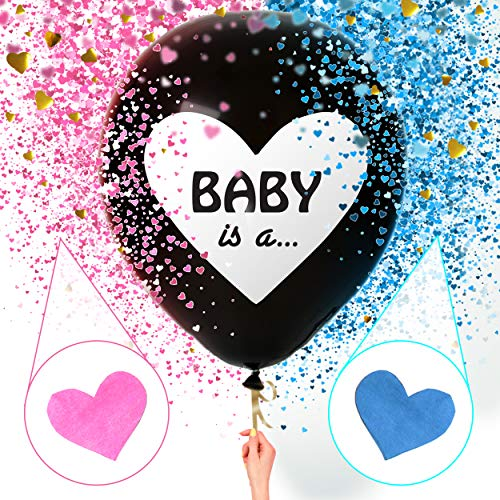 Sweet Baby Co. Jumbo 36 Inch Baby Gender Reveal Balloon | Big Black Balloons...