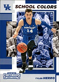 2019-20 Contenders Draft Picks School Colors #19 Tyler Herro Kentucky Wildcats Official Panini NCAA Collegiate Basketball Card (any streak on scan is NOT on the card)