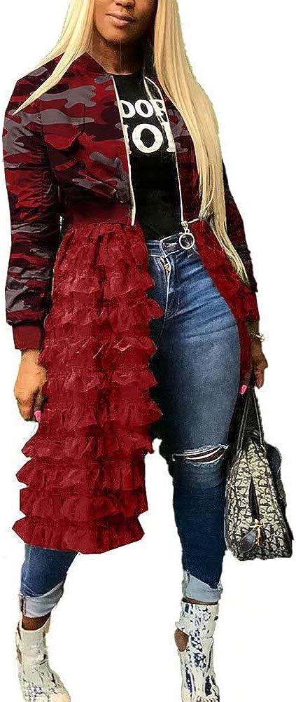 Women Camouflage Jacket Open Front Cropped Bomber Coat Camo Print Zipper Outwear Tulle Layered Ruffles Dress