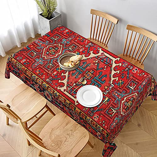 Tablecloths Wrinkle Free Oil Proof Rectangle Table Cloth Decorative Table Cover for Kitchen Dinning Party Iran Persian Carpet Oriental Glam Iranian Ethnic Traditional Tribal Tabletop Decoration