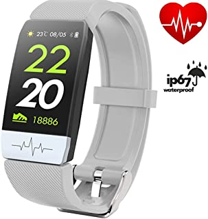 FitONE by J QS1 ECG + PPG Watch Heart Rate Monitor Fitness Tracker- Smart Bracelet Band with Blood Pressure IP67 Waterproof Pedometer Calorie Counter Sleep Tracker and Music Player for Women and Men