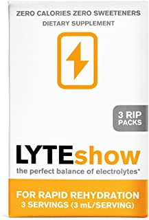 LyteShow Sugar-Free Electrolyte Supplement for Hydration and Immune Support - 3 Single Servings - Keto Friendly - Zinc and...