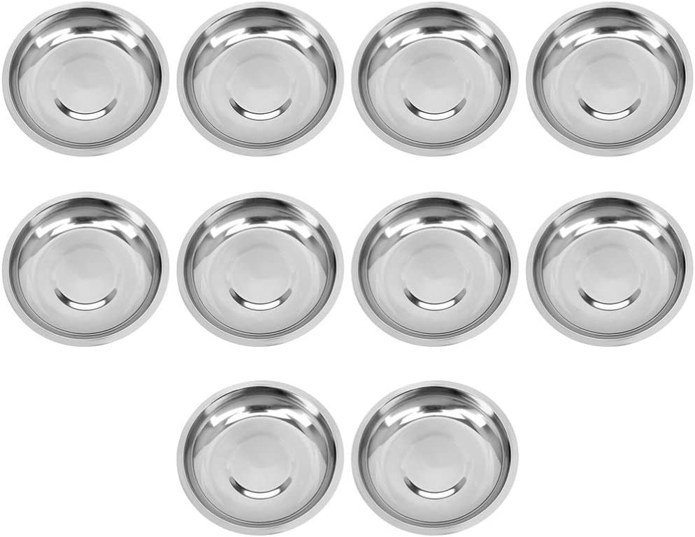 Cabilock 10pcs Classic Stainless Steel Sauce Dipping Popularity Appetizer Dish Tray