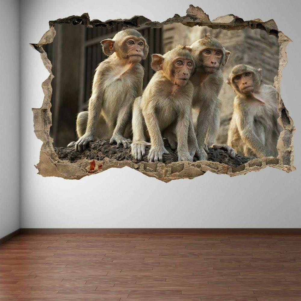NYJNN Baby Monkeys Mail order Funny Animal Wall Art Ki Stickers Decal Super intense SALE Mural