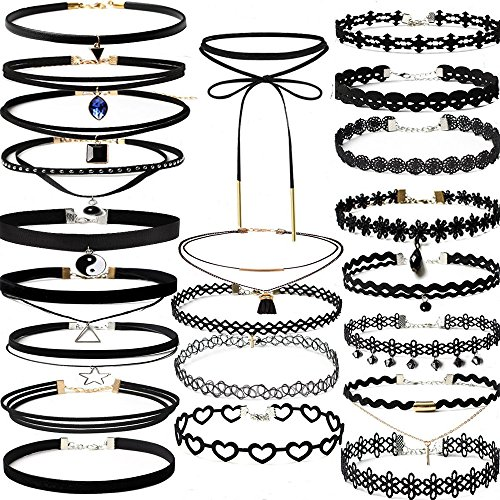 A Set of Choker Necklace (22 Pieces) Black Stretch Velvet Classic Gothic Tattoo Lace Choke Party Valentines Day Gifts