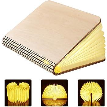Lampada Libro GEEDIAR Lampada a Libro USB Ricaricabile Pieghevole in Legno Magnetico LED Luce in Forma di libro, 2500mAh Batteria litio Lampada da