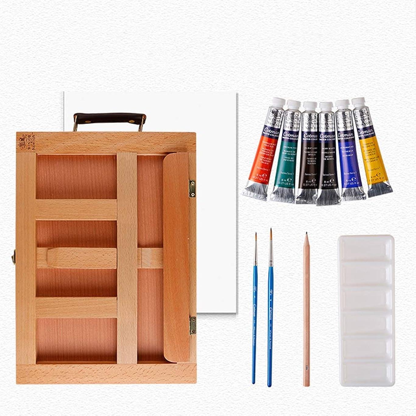摘むメッセージ備品JSFQ 水彩イーゼルセット、持ち運びが容易で持ち運びが簡単、折りたたみ可能な270 * 385 * 78mm、木製カラー イーゼル