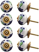 Indian-Shelf Handmade Ceramic Floral Cupboard Knobs Cabinet Pulls Kitchen Handles(Purple, 1.5 Inches)-Pack of 8