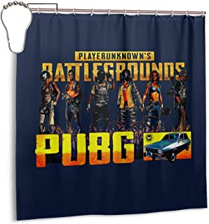 ENXIANGXIJ Waterproof Polyester Fabric Shower Curtain Player Unknown Battlegrounds Montage Print Decorative Bathroom Curtain with Hooks,72