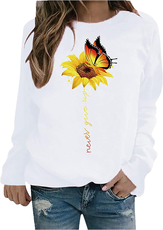 SALIFUN Pullover Sweatshirts for Women, Long Sleeve Sunflower Print Casual Sweater Crewneck Shirts Tops