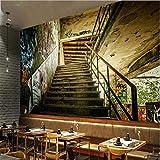 Fondo De Pantalla Estéreo Calle Escaleras Grafiti Moderno Hotel De Fondo Mural De Pared Fondos De Pantalla En 3D Decoración Del Hogar Tela De Seda De Imitación 400X280 Cm
