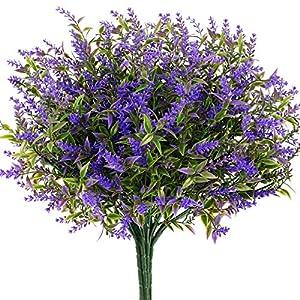 Silk Flower Arrangements HATOKU 9pcs Bundles Artificial Lavender Flowers Outdoor UV Resistant No Fade Fake Shrubs, Faux Plastic Plants for Farmhouse Home Garden Porch Window Box Decoration