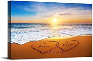 Heart and Heart at Beautiful Sunrise Unique Personalized Photo or Canvas Prints with Couple's Names and Special Date on Be...