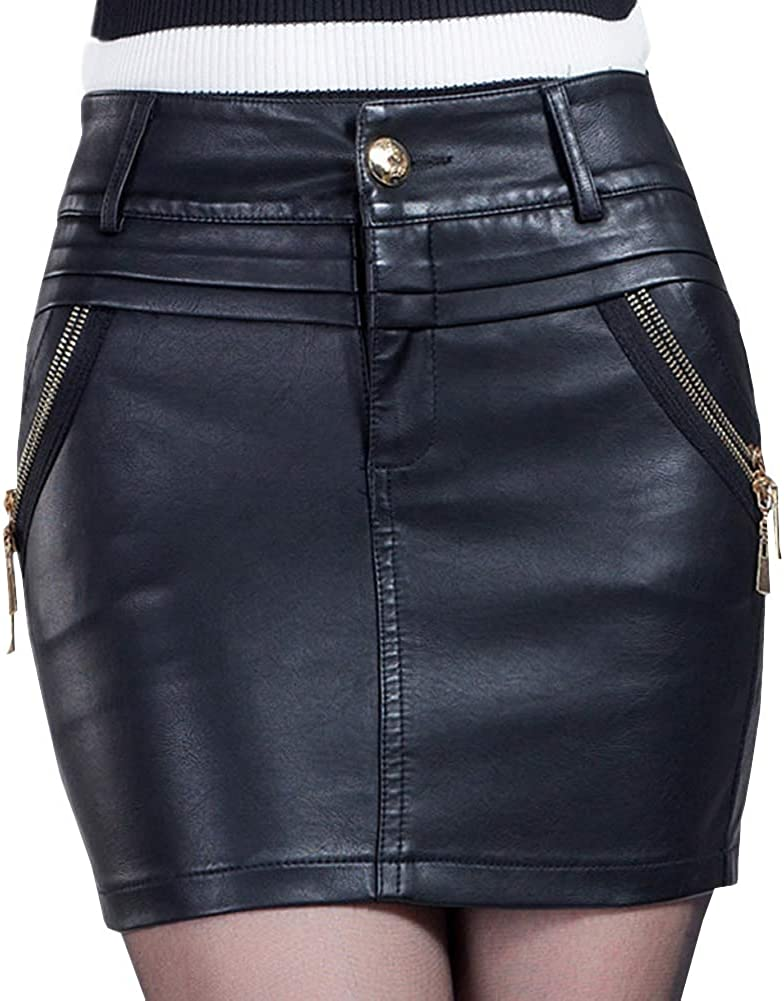 DISSA FS8866 Women Pu Leather Plus Size Mini Bodycon Pencil Club Skirt