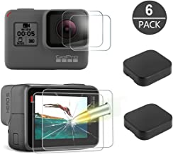 [6 Pack] Tempered-Glass Screen Protector for GoPro Hero 7 (Black Only) / Hero 5 Black Hero 6 Black (2-Pack) & Lens Protector (2-Pack) & Lens Cap Cover (2-Pack) by Akwox