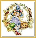 YEESAM ART Kits de punto de cruz sellados para adultos principiantes, calabaza mágica niña 11 ct 39 × 41 cm Kit de costura de bordado DIY con patrones preimpresos fáciles divertidos de Navidad (niña)
