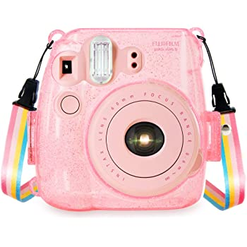 Color : Transparent Transparent MEETBM ZIMO,Protective Crystal Shell Case with Strap for FUJIFILM instax Mini 7S