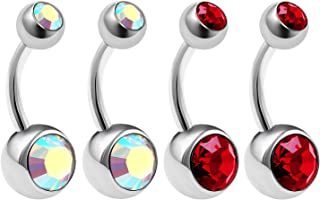 4Pcs Steel 14 Gauge 5/16 8mm Belly Button Rings Piercing Jewelry Ear Lobe Earring Navel 8mm 5mm Crystal Ball More Choices