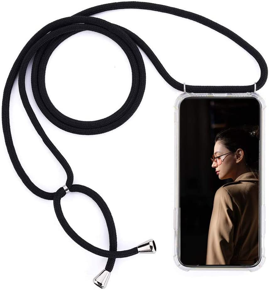 MXKOCO Compatible with Motorola Moto E7 Case TPU Necklace Phone Cover//Case Adjustable Length Lanyard Mobile Phone Chain Holder with Neck Cord Lanyard Strap gray