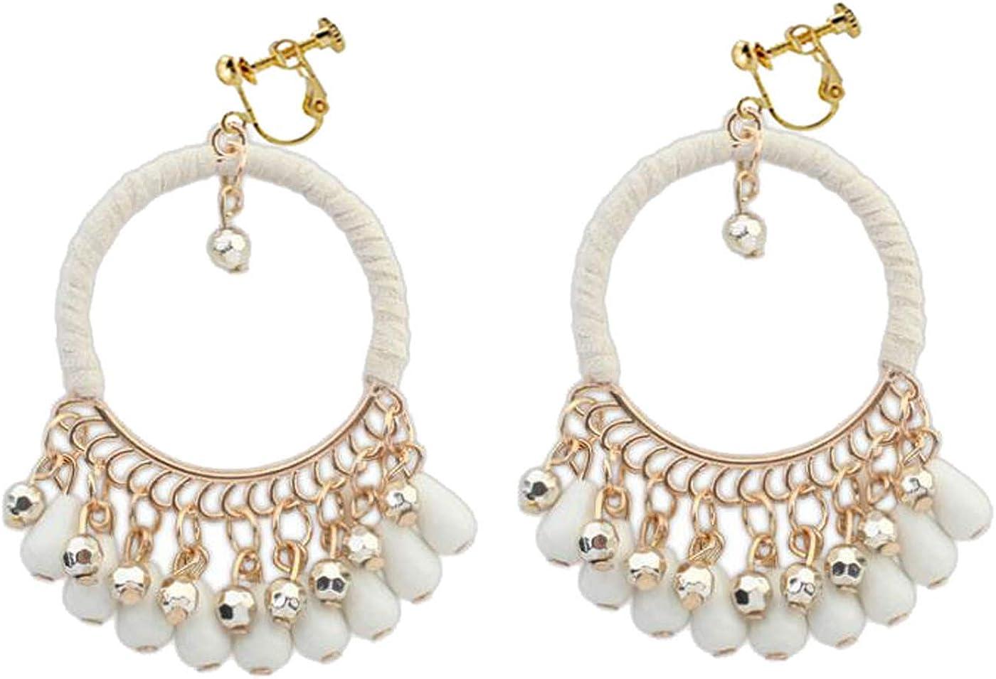 Retro Clip on Earrings Bohemian Earrings for Women Girls Handmade Braid Dangle Drop Beaded Tassel Vintage Statement