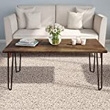 "Lavish Home Coffee Table with Hairpin Legs, (L) 41.25"" x (W) 19.5"" x (H) 17.75"", Brown"