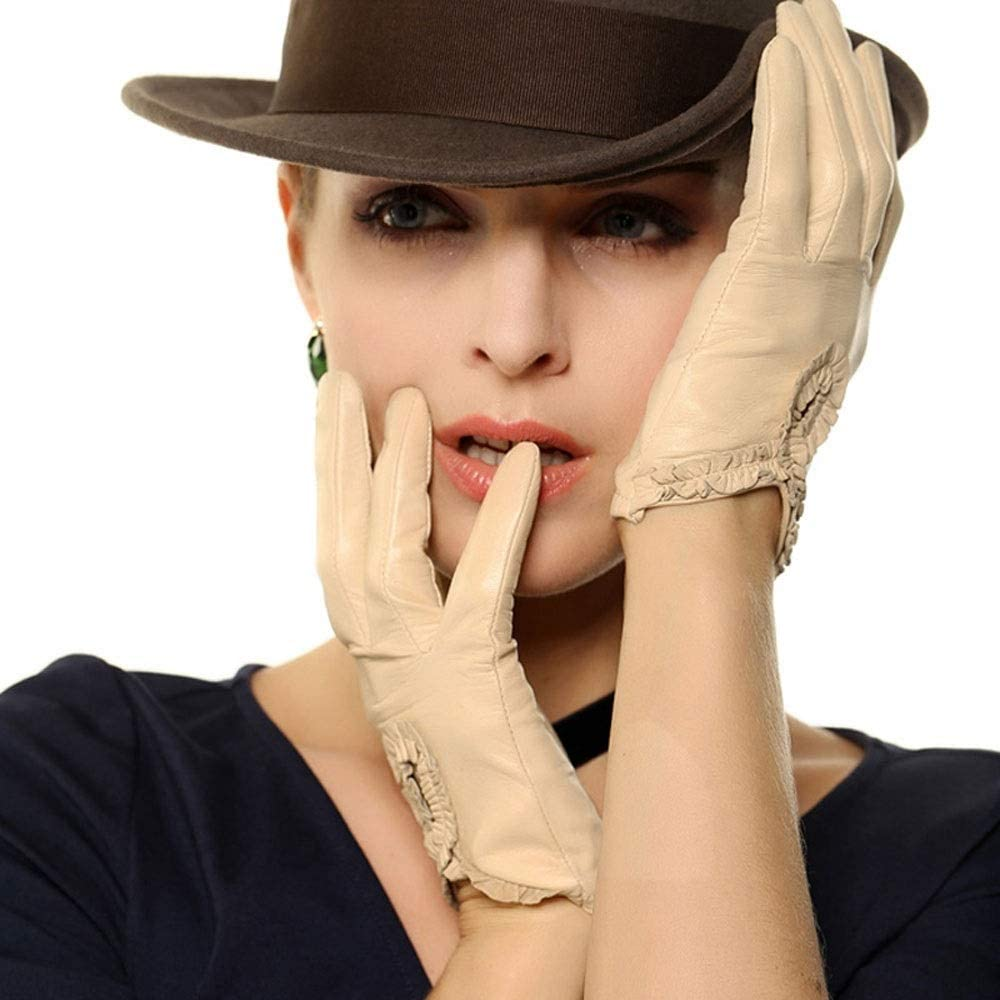 Swftc Sheepskin Gloves Ladies Spring and Autumn Fashion Thin Lace Decorative Gloves Fashion Touch Screen Warm Gloves Brief Bow Leather Driving Mitten (Color : Beige, Size : L)