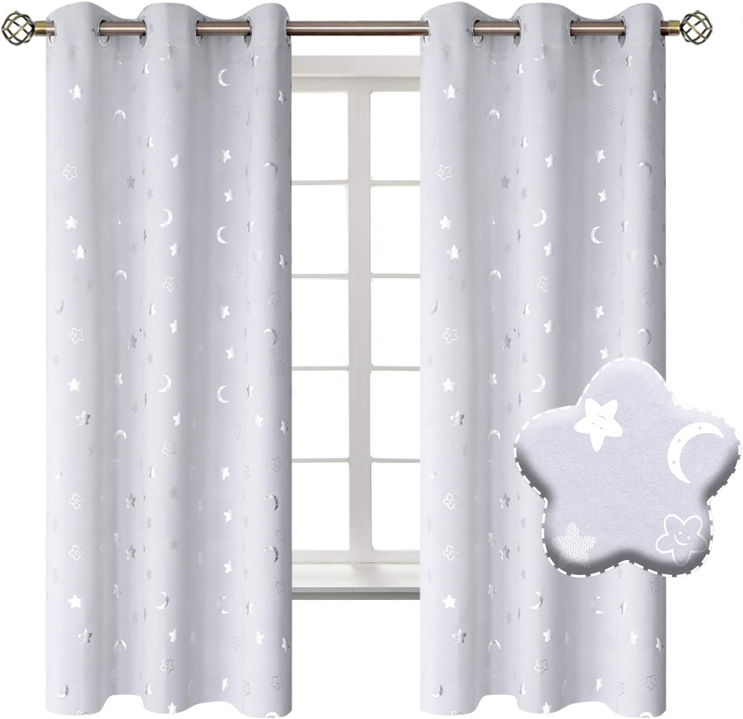 BGment Moon and Stars Blackout Curtains Kids High Mail order cheap material Gromme Bedroom for