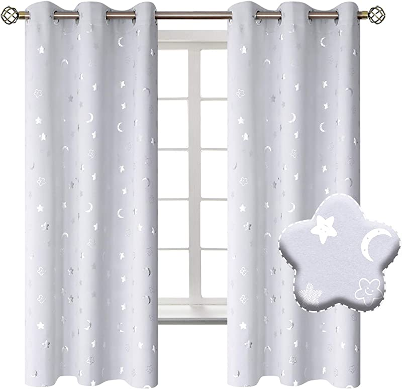 BGment Moon And Stars Blackout Curtains For Kids Bedroom Grommet Thermal Insulated Room Darkening Printed Nursery Curtains 2 Panels Of 42 X 63 Inch Greyish White